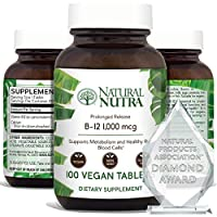 Natural Nutra Vegan Vitamin B12 1000 mcg, Cobalamin B 12 Supplement, Time Released with Calcium for Optimal Absorption, Energy and Brain Health, Non GMO, Gluten Free, 100 Tablets