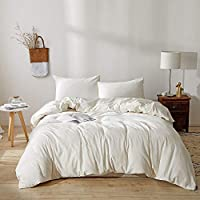 BFS HOME Stonewashed Cotton/Linen King Duvet Cover, 3-Piece Comforter Cover Set, Breathable and Skin-Friendly Bedding Set (Off-White, King)