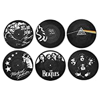MECOWON Coasters for Drinks - 6Packs, Music Coasters with Vinyl Record Design, Gift for Music Lovers, New Home, Housewarming, Indoor, Living Room Decor, Black and White