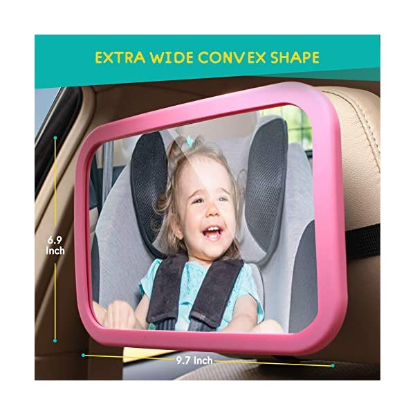 PINK BLACK MYSBIKER Baby Backseat Mirror,360/°Rotation and Shatterproof,Rear View Baby Kids Car Mirror with Dual Adjustable Straps,Clear View Ensure Your Baby is Safe in Car