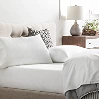 Brookside - Microfiber Sheet Set - Soft and Cozy - Hypoallergenic - Easy Care Fabric - Stain and Wrinkle Resistant - Queen - White
