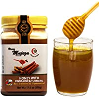Mujeza Raw Wildflower Honey with Ceylon Cinnamon & Turmeric, Pure Real Raw Unheated Unfiltered without Harmful Chemicals, Gluten Free, Non GMO (500g/17.6oz)