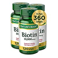 Biotin by Nature's Bounty, Vitamin Supplement, Supports Metabolism for Energy and Healthy Hair, Skin, and Nails, 10000 mcg, 360 Softgels