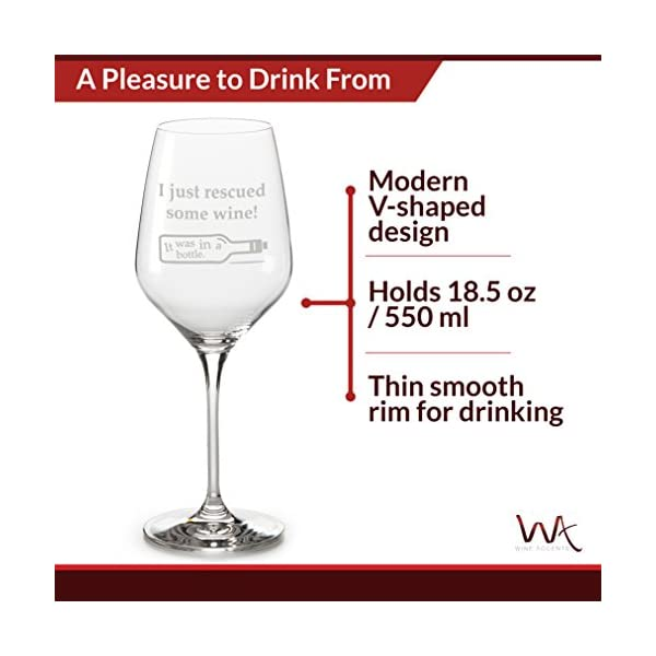 Funny Wine Glasses Unique Gifts: I Just Rescued Some Wine It was in a Bottle 18.5 oz Large Glass in Gift Box Great Birthday or Christmas Gifts for Women and Men