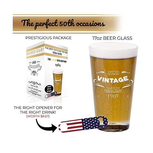 Funny 50th Birthday Gifts for Men Turning 50 1 Middle Finger 49 16 oz Pint Glass for Beer