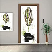 Ylljy00 Artichoke Door Wall Mural Wallpaper Stickers,Hand Drawn Delicious Fresh Vegetable Healthy Menu Good Eats Super Food 18x80 Vinyl Removable Decals for Home Decoration