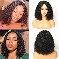 Brazilian Deep Wave Wigs for Black Women Human Hair Lace Wigs Glueless Short Curly Wigs Human Hair with Middle Part Short Bob Wigs Shoulder Length Deep Curly Virgin Hair (14 inches with150% density)