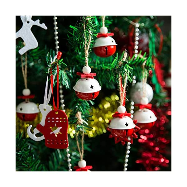 1.6 x 1.4 Inch Naler 12 Pieces Christmas Jingle Bells Craft Bells with Star Cutouts for Christmas Party Festival Decorations