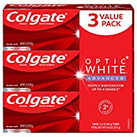 Colgate Optic White Advanced Teeth Whitening Toothpaste, 2% Hydrogen Peroxide, Sparkling White - 3.2 Ounce (3 Pack)