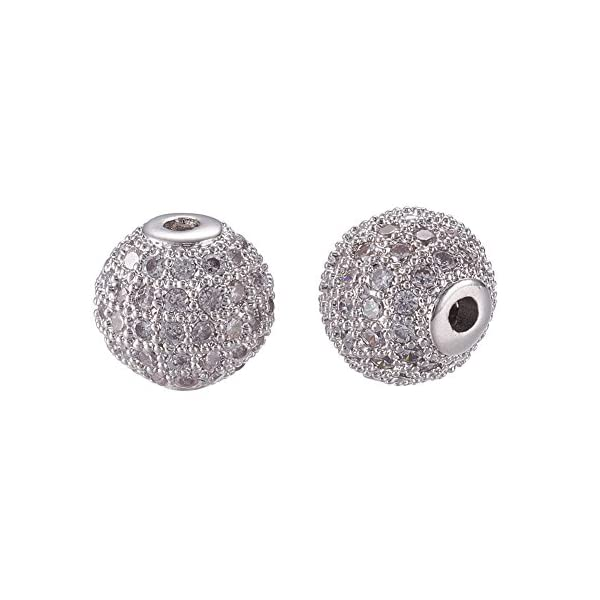 Round Bracelet Connector Charms Beads for Jewelry Making NBEADS 10pcs 8mm Brass Clear Gemstones Cubic Zirconia CZ Stones Pave Micro Setting Disco Ball Spacer Beads