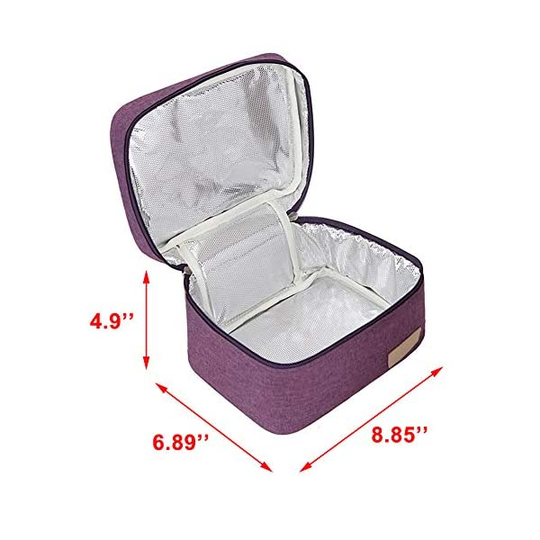 Well Made Breastmilk Cooler Bag Fits for 4 Medela Pump Bottles with Zipper and Mesh Pocket Purple Cooler Bag with 1pcs Ice Pack Insulated Cooler Bag Ice Pack Not Included