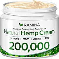 Ramina Natural Hemp Extract Pain Relief Cream - 200,000 - Turmeric, MSM & Arnica - Relieves Inflammation, Muscle, Joint, Back, Knee, Nerves & Arthritis Pain - Made in USA - Non-GMO