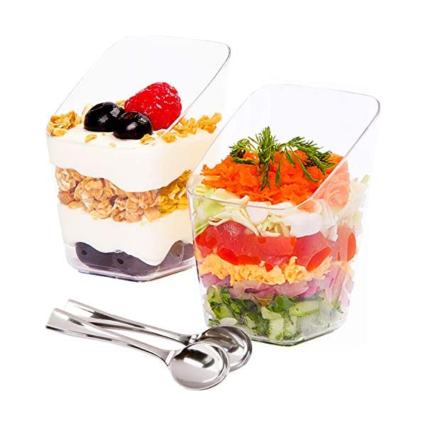Small Disposable Reusable Serving Bowl for Tasting Party Desserts Appetizers with Recipe Ebook Clear Plastic Parfait Appetizer Cup DLux 32 x 2.5 oz Mini Dessert Cups with Spoons Slanted Round