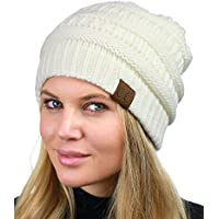 C.C Unisex Chunky Soft Stretch Cable Knit Warm Fuzzy Lined Skully Beanie