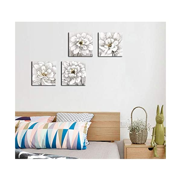 White Flowers Wall Art for Bedroom Bathroom Wall Decor Modern Blossom Canvas Art Living Room Decoration Modern Artwork Canvas Picture Contemporary Wall Art for Home Office Decor 12 x 12 x 4 Pieces