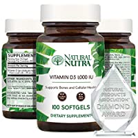 Natural Nutra Supreme Vitamin D3 1000 IU Softgels, Supplement for Immune Support, Bone and Teeth Strength, Muscle Health, Gluten Free, Non-GMO, 100 Count