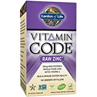 Garden of Life Zinc Vitamin - Vitamin Code Raw Zinc Whole Food Supplement with Vitamin C, Vegan, 60 Capsules