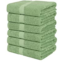 Utopia Towels Cotton Towels, Sage Green, 24 x 48 Inches Towels for Pool, Spa, and Gym Lightweight and Highly Absorbent Quick Drying Towels, (Pack of 6)