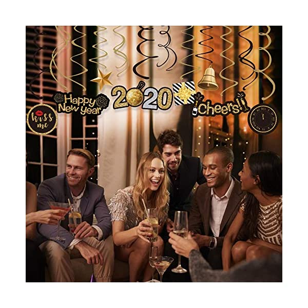 GOER 31 Pcs 2019 New Year Supplies,Hanging Swirls for New Years Eve Party Decorations