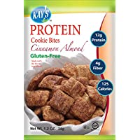 Kay's Naturals Protein Cookie Bites, Cinnamon Almond, Gluten-Free, Low Fat, Diabetes Friendly, All Natural Flavorings, 1.2 Ounce (Pack of 60)