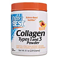Doctor's Best Collagen Types 1 & 3 Powder Healthy Hair, Skin and Nails - Joint and Bone Support, Peach Flavored, 8.1 Oz, 228 g