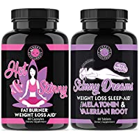 Angry Supplements Hot & Skinny Thermogenic + Skinny Dreams Sleep Aid Women's Weight Loss Combo (2-Pack Bundle), Day and Night-time Diet Pills, Fast Fat Burning, Non-GMO, (2-Pack)