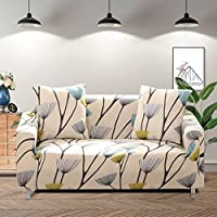 Lamberia Printed Sofa Cover Stretch Couch Cover Sofa Slipcovers for 3 Cushion Couch with Two Free Pillow Case (Dandelion, Sofa 3 Seater)