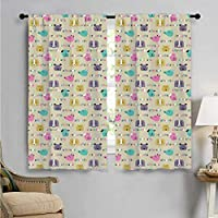 Room Darkening Wide Curtains, Cartoon Style Animal Faces, Decor Curtains by W72 x L63 Inch