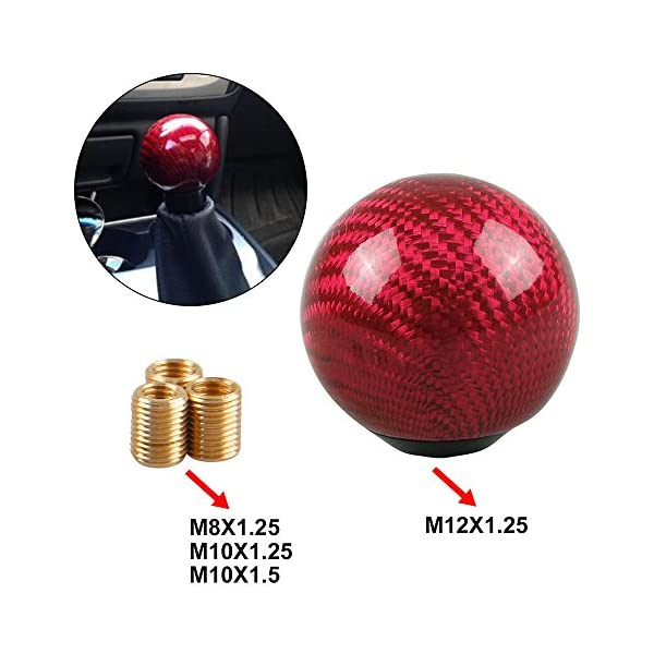 XtremeAmazing Universal Round Ball Gear Shift Knob Shifter Knobs M12 x 1.25 Thread with 3Pcs Adapters Stick Shifter Black Carbon Fiber Style Black