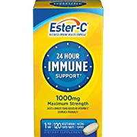 Ester-C Vitamin C 1000 mg Coated Tablets, 120 Count, Immune System Booster, Stomach-Friendly Supplement, Gluten-Free