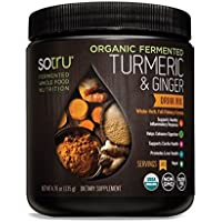 SoTru Turmeric & Ginger Drink Mix - 135 grams - Whole-Food Fermented Herbal Supplement Powder with Curcuminoids - USDA Certified Organic, Non-GMO, Vegan, Gluten-Free - 30 Servings