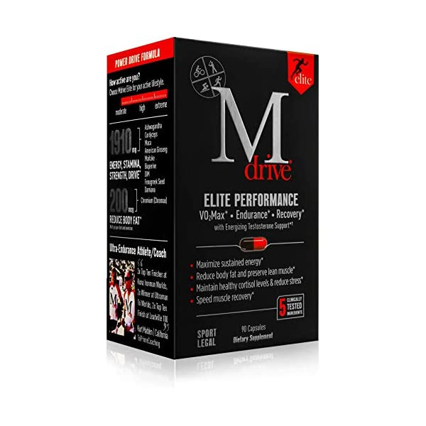 Mdrive Elite - Natural T Energizing Booster, KSM-66 Ashwagandha, DIM, Cordyceps, Fenugreek, Chromium - Energy, Endurance, Cardio, VO2Max, Recovery, Stress Relief, Lean Muscle, 90 Capsules