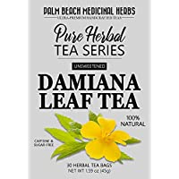 Damiana Leaf Tea - Pure Herbal Tea Series by Palm Beach Medicinal Herbs (30 Tea Bags) 100% Natural