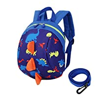 Toddler's Mini Dinosaur Backpack Zipper Toy Snack Bag w/Safefy Leash Age 1-3