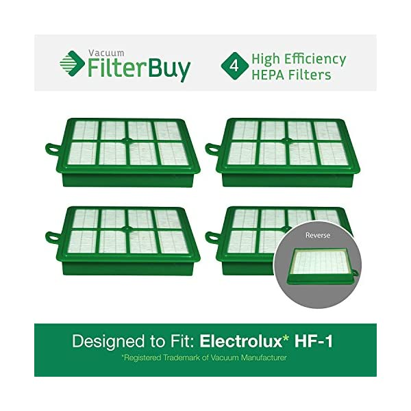 Designed by FilterBuy to fit Eureka Electrolux Sanitaire Canister Vacuum Cleaners HF-1 4 HF-12 HF12 FilterBuy Eureka Electrolux Sanitaire Compatible Washable HF1 HEPA Filters Part # 60286A LEPAC7673