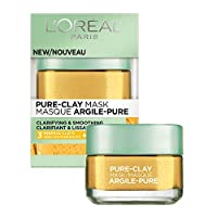 Clay Facial Mask, L'Oreal Paris Skincare Pure Clay Face Mask with Yuzu Lemon for Rough Skin to Clarify & Smooth, at home face mask, 1.7 oz.