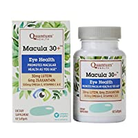 Quantum Health Macula 30+ Softgels, Eye Supplement, Macular Health - Lutein, Zeaxanthin, Vitamin C and E, Omega 3, Zinc - 60 Count
