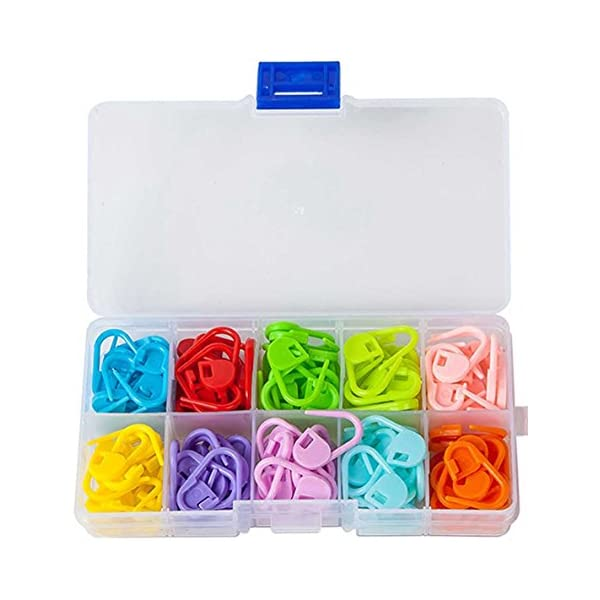HEIRTRONIC 120 Pieces Colored Knit Knitting Stitch Markers Rings with Storage