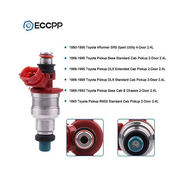 Fuel Injectors ECCPP 4pcs High Performance Red Sliver 2 Hole Fuel Injector Kits 23250-35040 for 1989 1990 1991 1992 1993 1994 1995 Toyota 4Runner Toyota Pickup 105302-5211-1430031051