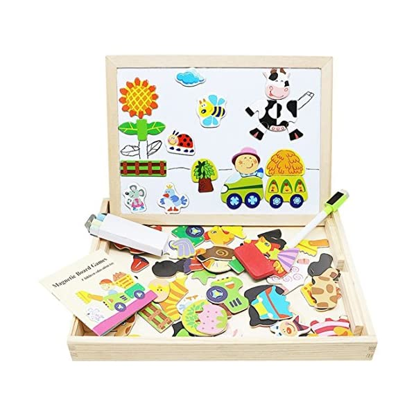 Dreamer Kids Children Wooden Magnetic Easel Double Side Magnets Drawing Board Jigsaw Puzzle Montessori Educational Toys for Girls Boys