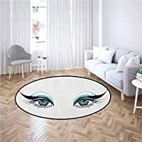 Eye Area Rug Mat Expressive Look of a Woman Without Eyebrows Artistic Blue and Black Make Up Provides Protection and Cushion for Area Rugs and Floors Pale Blue Black White,Diameter 4'(120cm)