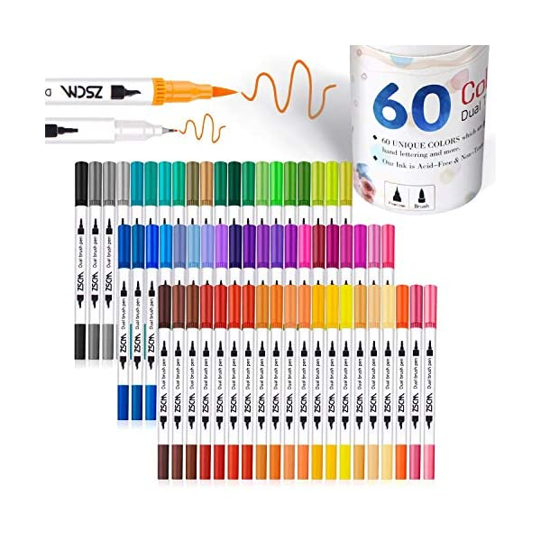 Mua Zscm 60 Colors Dual Tip Brush Pens Art Markers Set Fine And Brush Tip Colored Dual Pen For Kid Adult Coloring Book Drawing Bullet Journal Planner Calendar Art Projects Tren Amazon