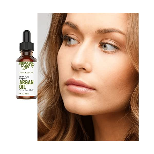 Aria Starr Beauty Organic Argan Oil For Hair, Skin, Face, Nails, Beard & Cuticles - Best 100% Pure Moroccan Anti Aging, Anti Wrinkle Beauty Secret, Cold Pressed Moisturizer 1oz