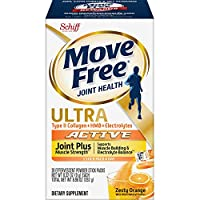 Type II Collagen, Electrolytes & HMB Ultra Joint Plus Muscle Strength Powder Packets, Move Free (28 Count in a Box)