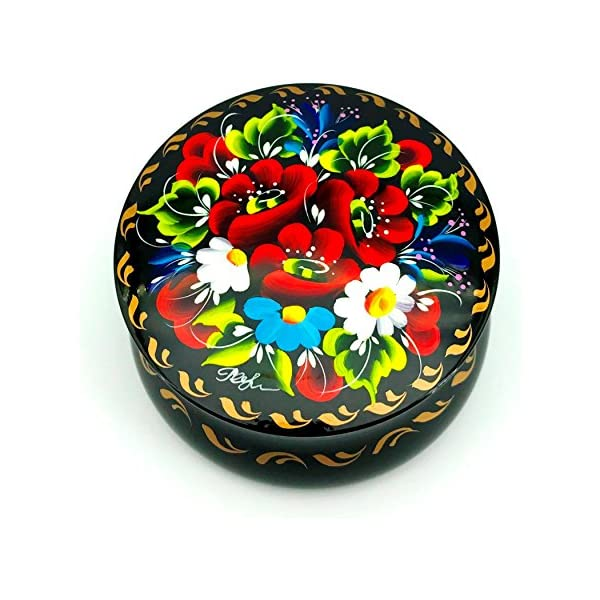 Necklace and Rings UA Creations Small Lacquer Box for Jewelry Earrings Floral Hand Painted Gift for Girls and Women