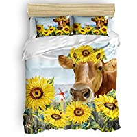 Luxury 4pc Duvet Comforter Cover Set for Women Men,USA Farm Animal Cattle Sunflower Bee Butterfly Bedding Set with Zipper Closure,Include 1 Duvet Cover 1 Bed Sheets 2 Pillow Cases Queen Size