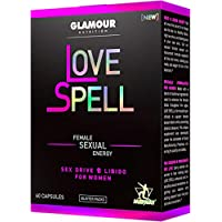 Glamour Nutrition Love Spell All Natural Libido Support for Women, Powerful Antioxidants Plus Maca and Sensoril for Hormonal Balance, Energy Complex for Fatigue and Stress Relief, 60 Capsules