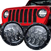 DOT Approved HALO DRL 7 Round LED Headlights for Jeep Wrangler JK TJ LC CJ Hummer H1 H2 Chrome-Finish H4 Plug n Play Built-In CAN Bus Accessories for Jeep Wrangler 1987-2018 Head Lights