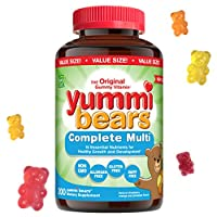Yummi Bears Complete Multivitamin and Mineral Supplement, Gummy Vitamins for Kids, 200 Count (Pack of 1)