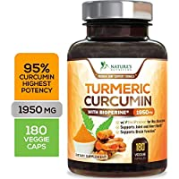 Turmeric Curcumin Highest Potency 95% Curcuminoids 1950mg with BioPerine Black Pepper for Best Absorption, Made in USA, Best Vegan Joint Support Turmeric Pills by Natures Nutrition - 180 Capsules